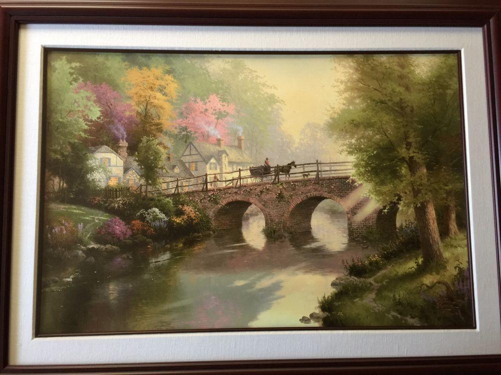 Thomas Kinkade Hometown Bridge, Singed & Numbered Lithograph Print ...