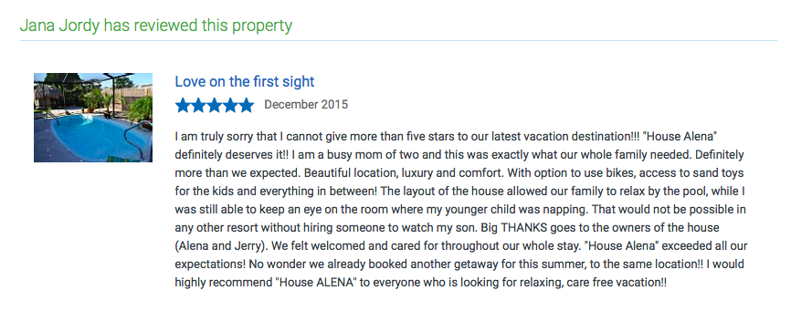ALENA VACATION HOME Thank You Jana and her family from Chicago for so lovely nice review. I'm very happy and I will celebrate all day. See you in summer . <3 Alena <3 https://www.homeaway.com/traveler/profiles/b87309c8-634b-44ad-9414-803bf970c0cd