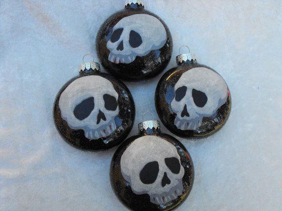 Skulls Glass Ornaments Set of 4 by diablitosheart on Etsy