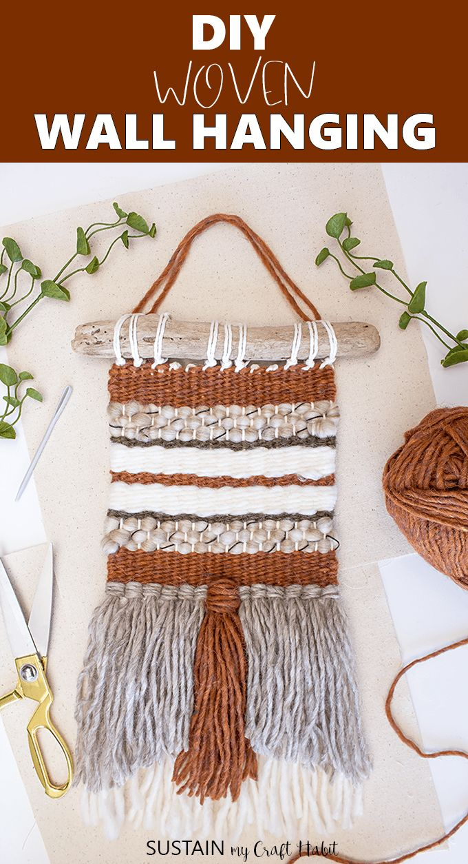Create your own beautiful woven wall hanging with this detailed step by step tutorial that is perfect for beginner weavers. #fiberarts #wallhanging #boho #weaving #sustainmycrafthabit