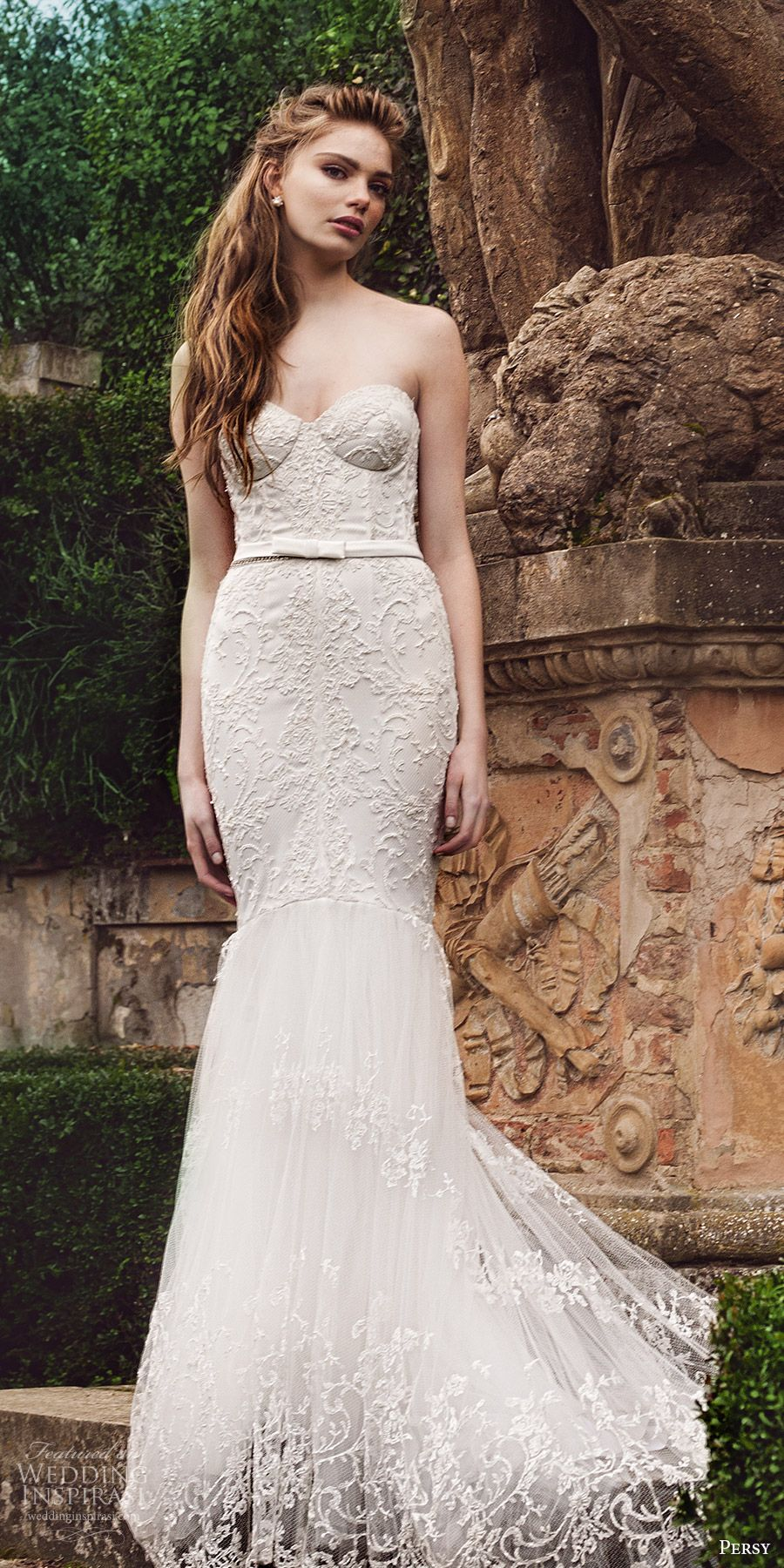 Lace fit and flare wedding dress with sleeves  Persy  ucLe Jardinud Wedding Dresses u Exclusive First Look  Lace
