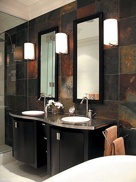 Reminiscent Of Raku Brazilian Multicolor Slate Is Used As A Feature Wall In This Bathroom