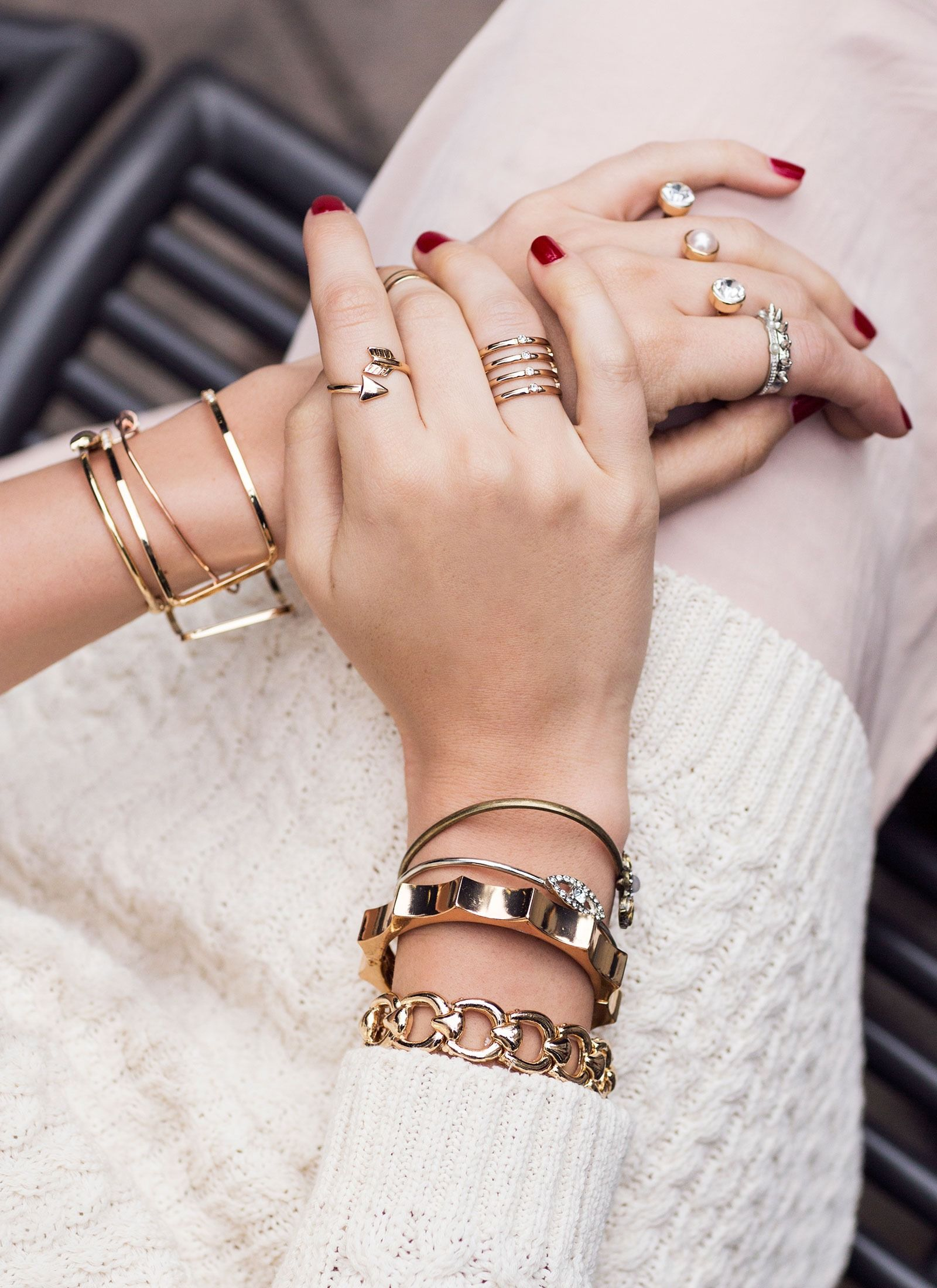 bccf3860f White + stacked gold. | BARE MINIMUM | Jewelry, Jewelry trends ...