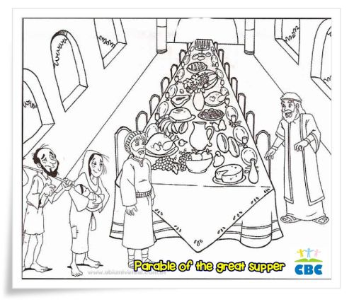 Matthew 22 1 14 Parable Of The Wedding Feast Coloring Page