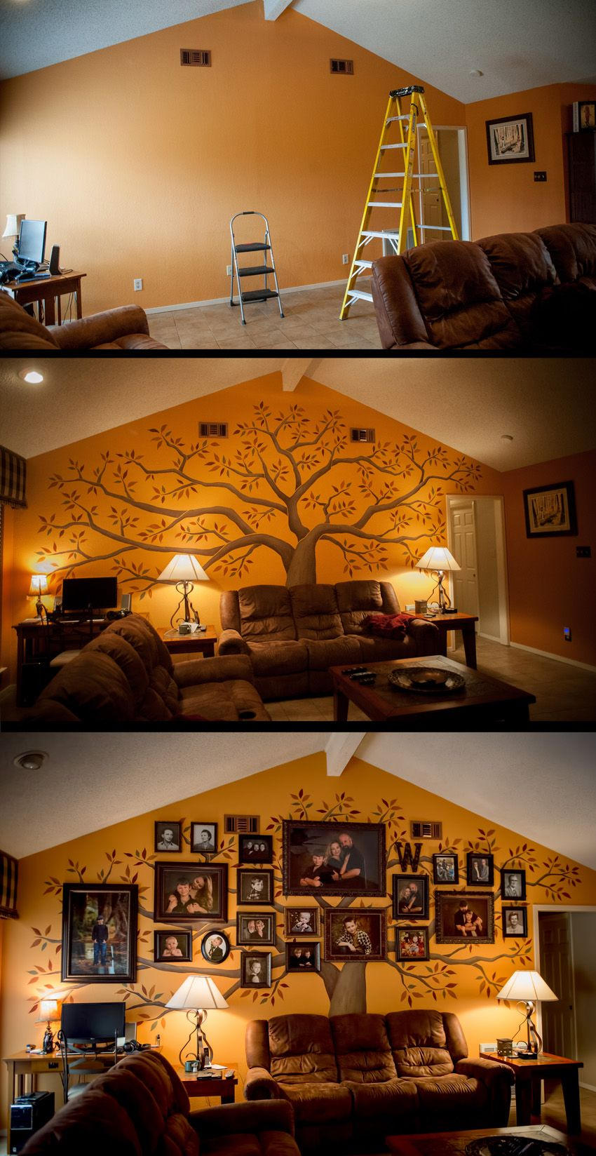 Tree Mural Painting With Family Photographs W Fa