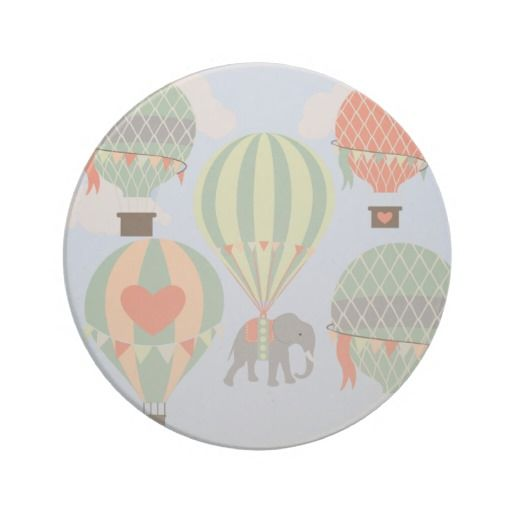 Cute Elephant Riding Hot Air Balloons Rising Drink Coaster SOLD on Zazzle