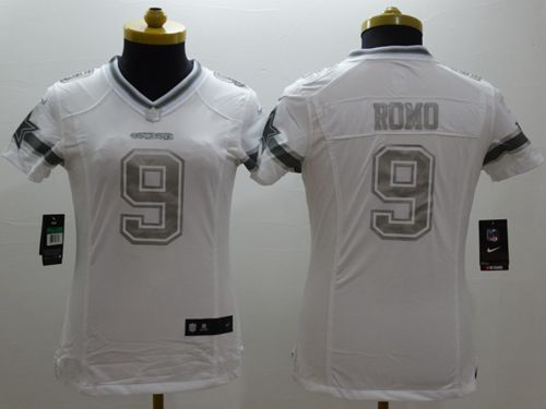 nike cowboys tony romo white womens stitched nfl limited platinum jersey and derek wolfe 95 jersey