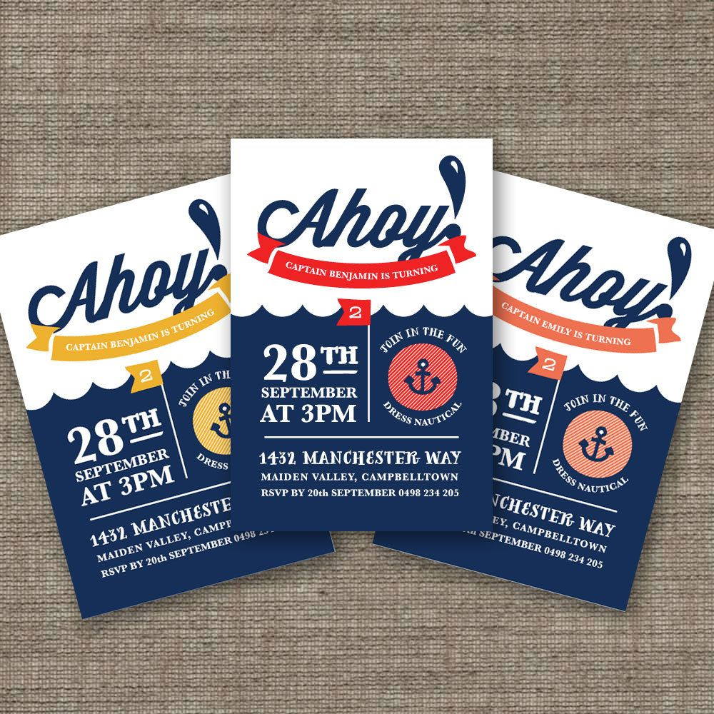 Ahoy Nautical Birthday Invitation for Kids Party, Pirate Theme 3rd ...