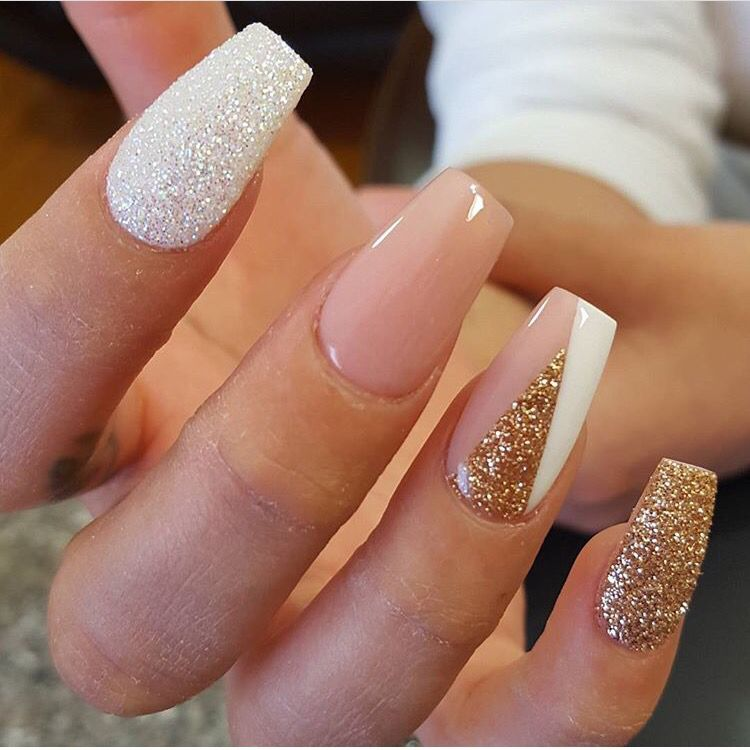Instagram photo by thenailboss #nail #nails #nailart / nude and glitter