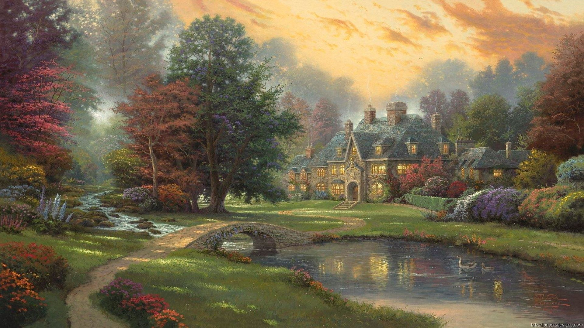 Thomas kinkade hd paintings art wallpaper 1920 1080 art for Prints of famous paintings for sale
