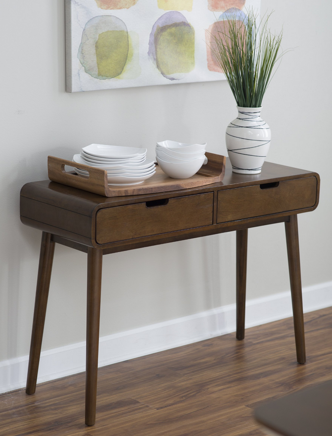 Modern Console Table Walnut Finish Mid Century Modern Console