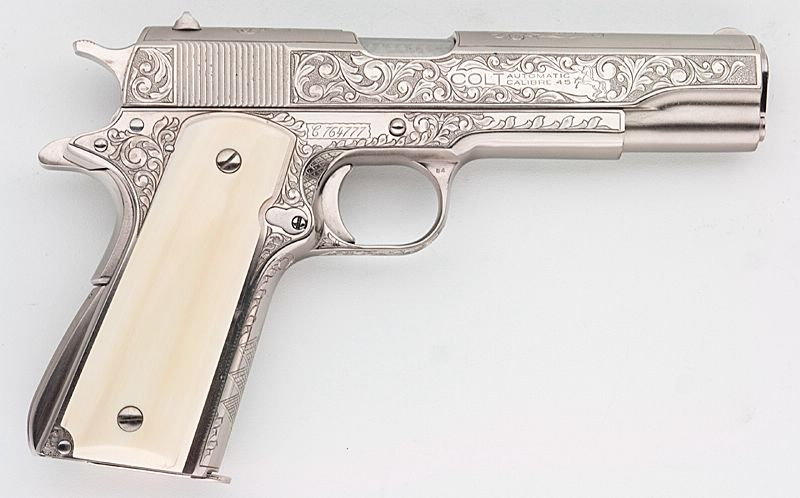 COLT 1911A1 GOVT CUSTOMIZED ENGRAVED NICKEL IVORY GRIPS 45 ACP
