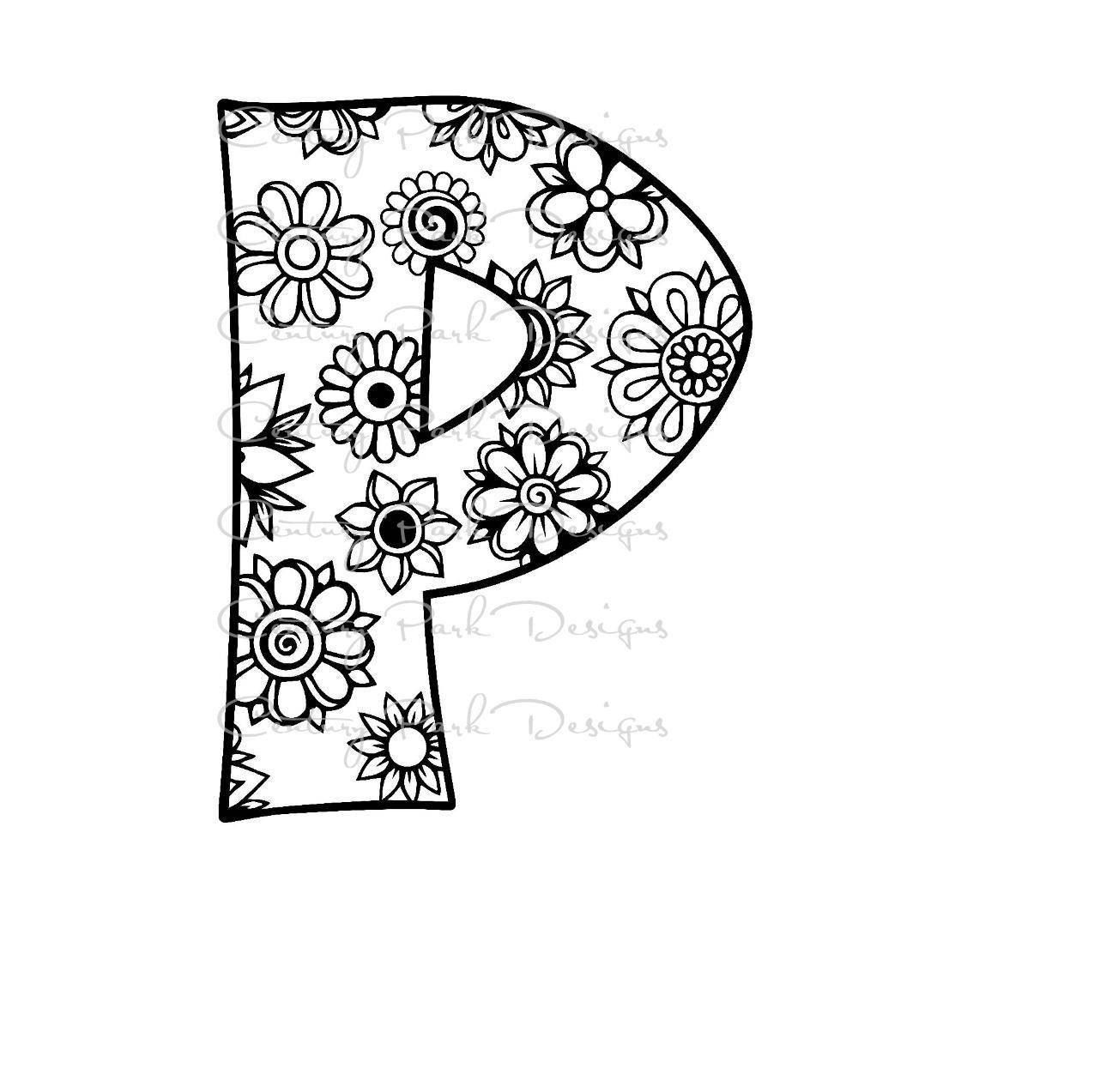 Letter P Alphabet Flowers SVG / JPEG / PNG /pdf / use with ...