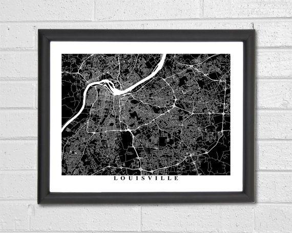 Louisville Map Art - Map Print - Black and White Print - Kentucky - Louisville Map - Graduation Gift - Wedding Gift - Engagement Gift