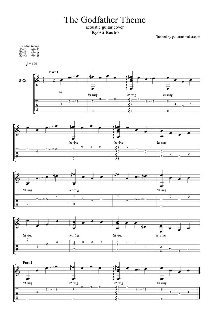 The Godfather Theme Easy Fingerstyle Guitar Tab Pdf Guitar Sheet
