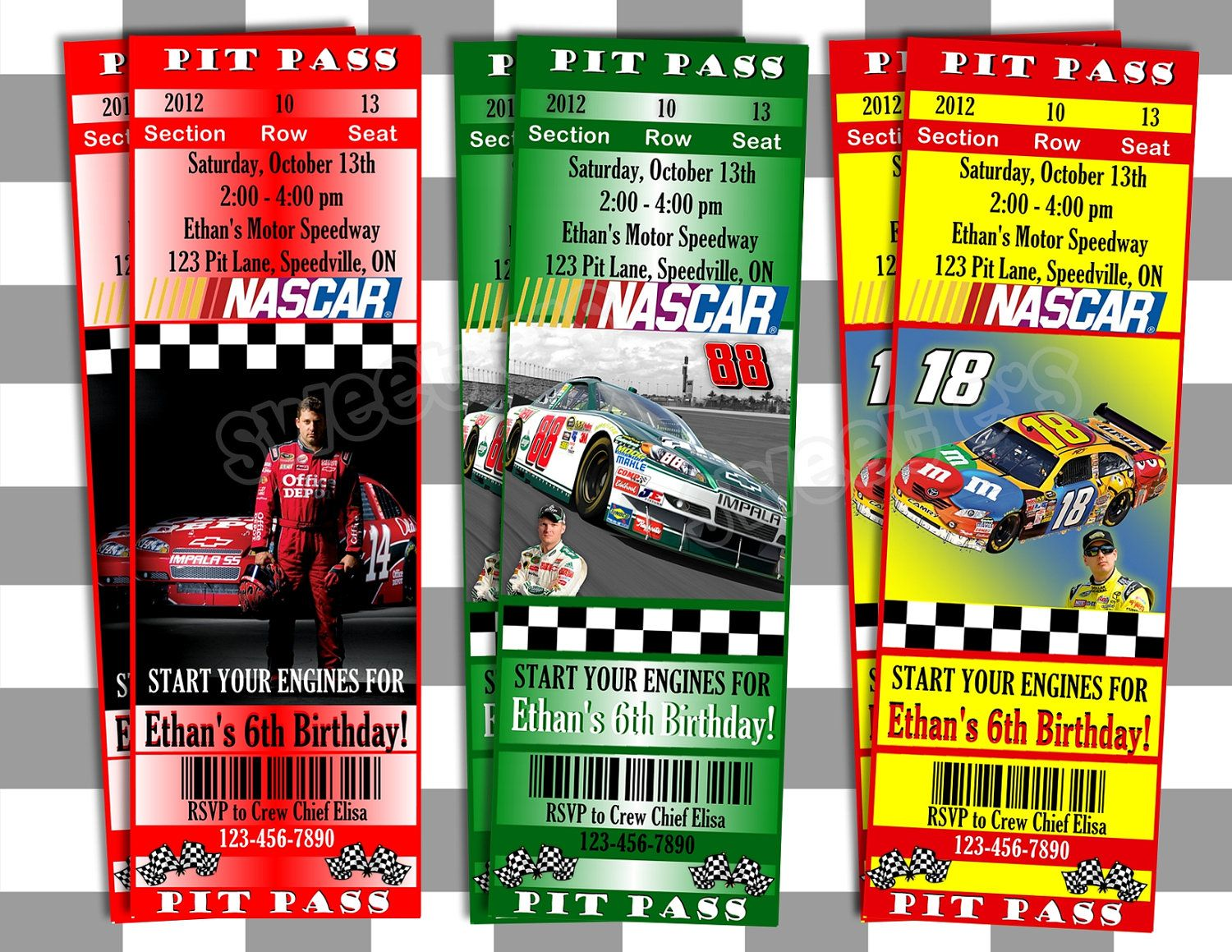Printable nascar invitations ticket style customized with your printable nascar invitations ticket style customized with your party details and your favourite nascar driver filmwisefo Choice Image