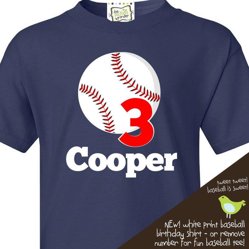 Personalized Kids Tshirt Baseball Birthday Boy Or Girl Dark T Shirt