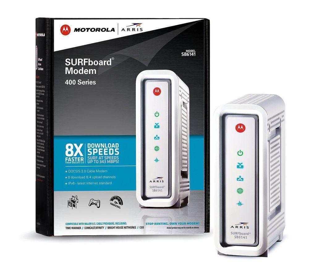 Motorola Cable Modem Wired Gigabit Ethernet Port 343 Mbps Download ...