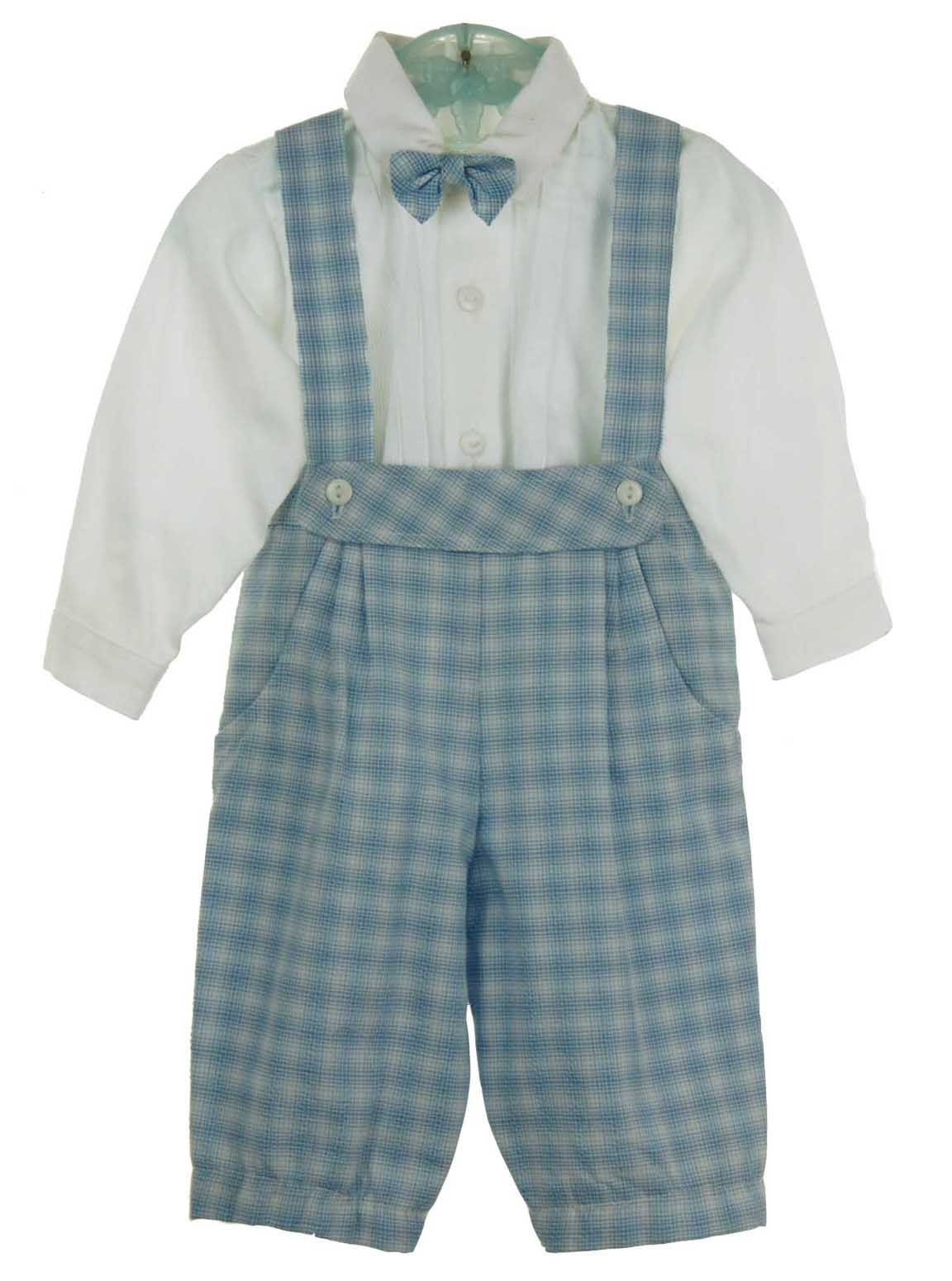 44365f796a45 NEW Will Beth Blue and White Plaid Cotton Knickers Set with Bowtie ...