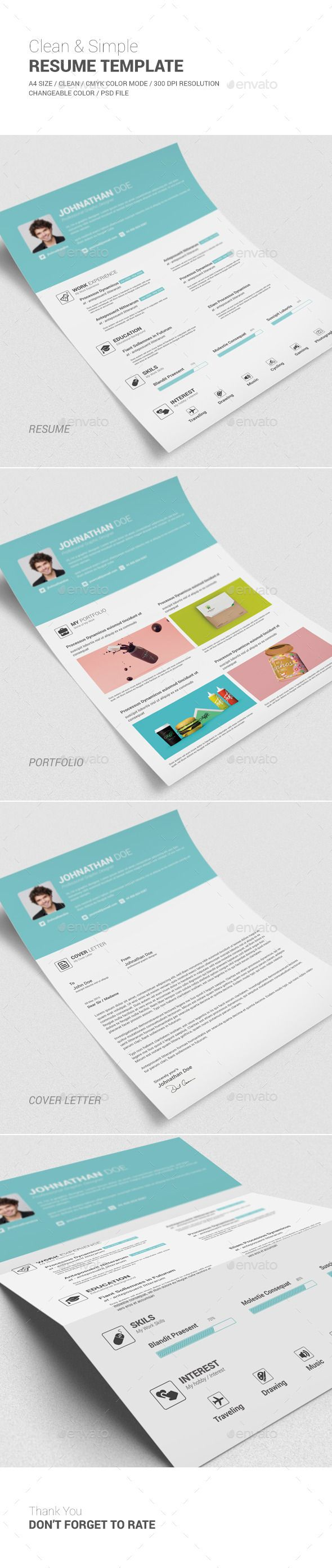 Clean Simple Resume Template Photoshop Psd Cover Letter