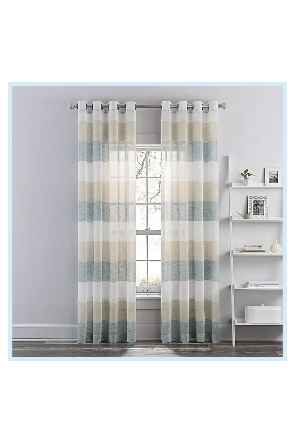 Brix Solid And Stripe Sheer Grommet Window Curtain P