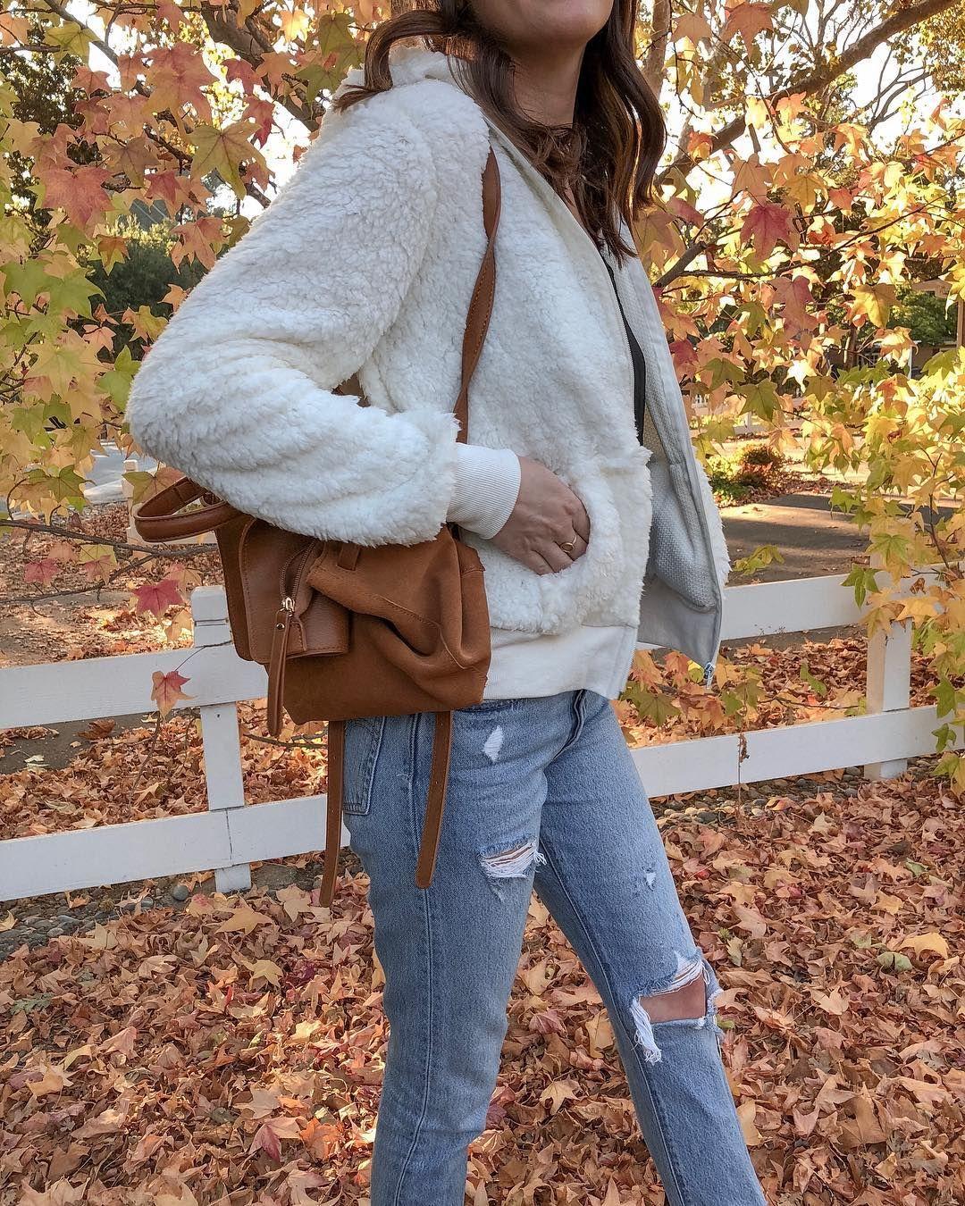 Fall style fall fashion fall teddy coat fleece jacket outfit