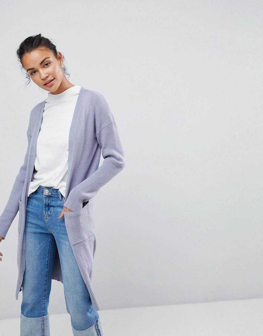 Relaxed Cardigan With Rib Sleeves - Blue Fashion Union Cheap Price Outlet Clearance Shop For Cheap Online Store Affordable Sale Online Buy Cheap Amazing Price XGoW8TE