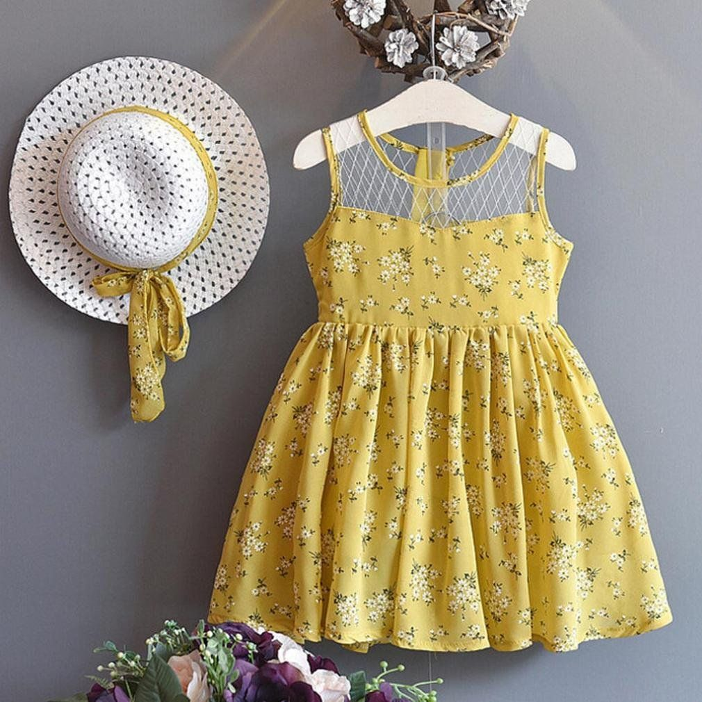 Sun Hat Toddler Kids Baby Girl Chiffon Floral Vest Dress 23 Years Yellow      Make sure to have a look at this remarkable product. 0b69028ff992