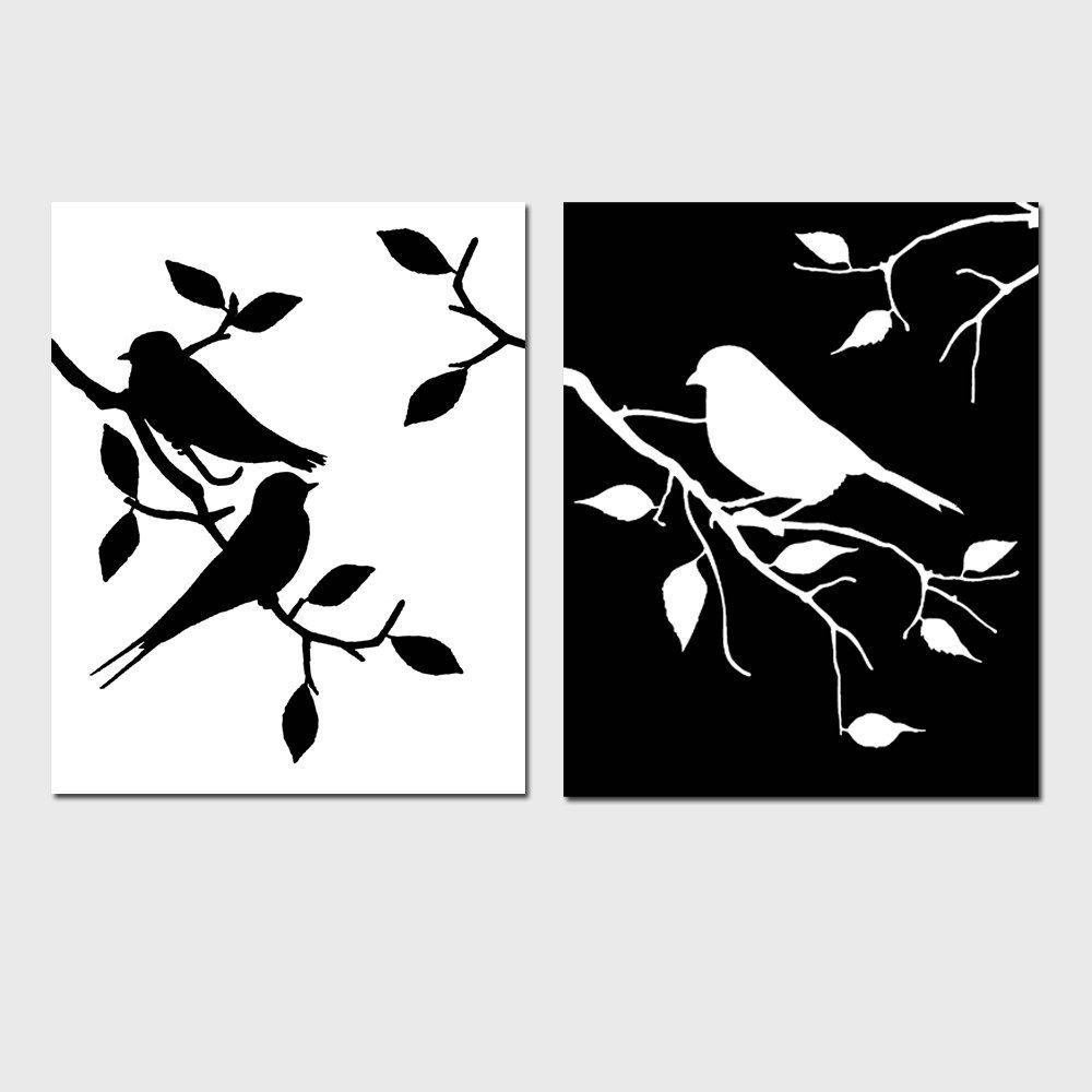 Black And White Bird Art Black And White Bird Prints Set Of Etsy In 2021 Bird Prints Silhouette Wall Art Bird Wall Art