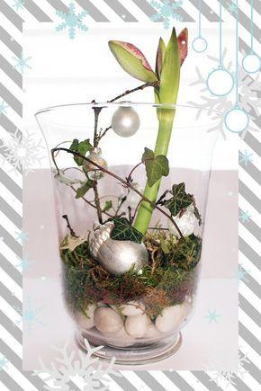 Weihnachtsdeko im hohen glas