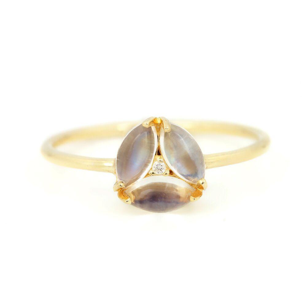 0 73 Ct Moonstone Minimalist Ring Gemstone Diamond 14k Yellow