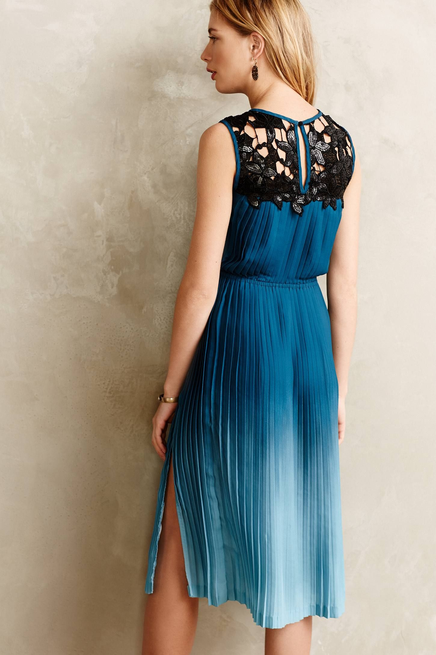 Cerulean Depths Midi Dress - anthropologie.com