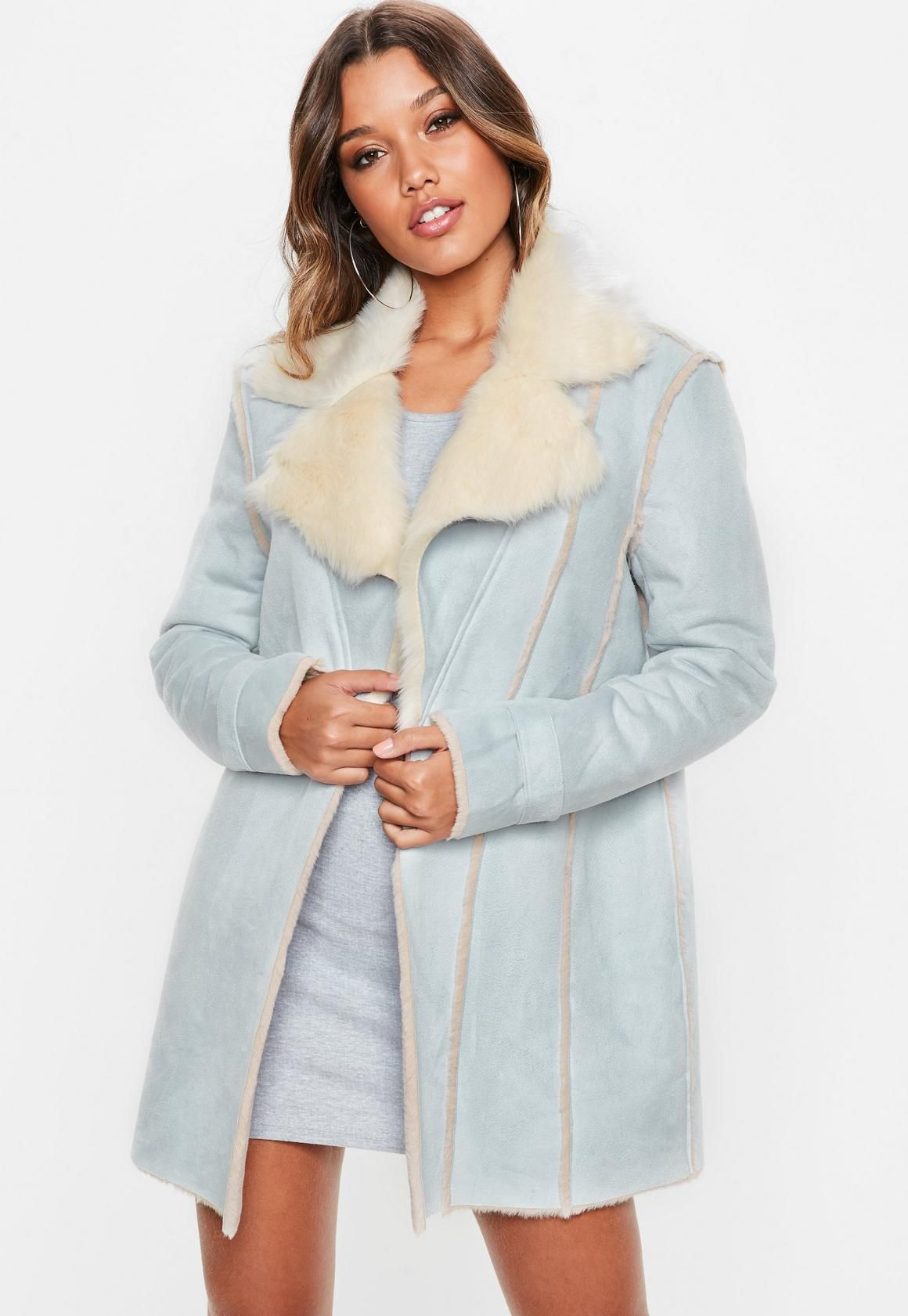 Missguided Blue Faux Suede Contrast Fur Lined Coat Fur