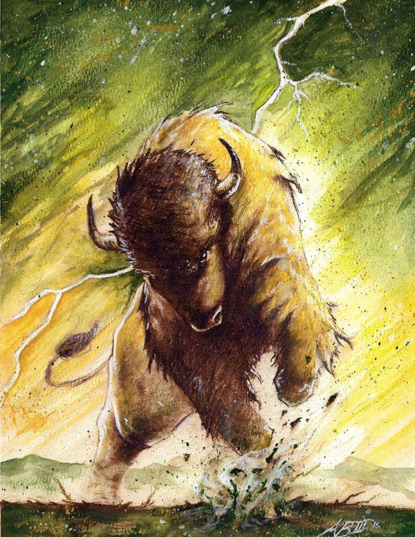 Art Of Arthur Bowling Iii Bison Watercolor Painting Ndsu