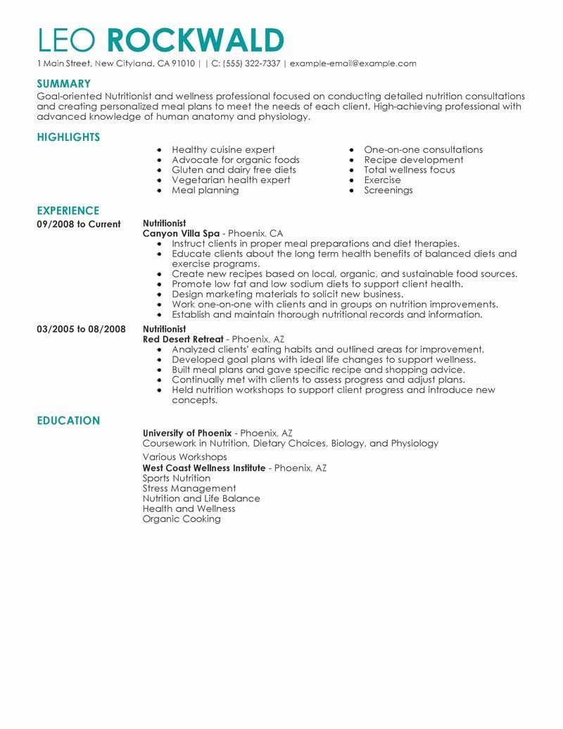 Entry Level Dietitian Resume Elegant Nutritionist Resume Examples Salon Spa Fitness Resume Samples Resume Examples Good Resume Examples Resume