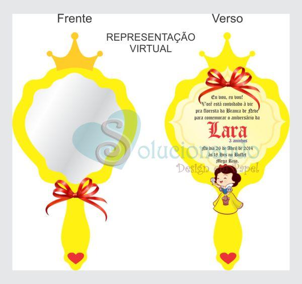 Convite Espelho, espelho meu... Um charme com coroa de glitter com strass vermelho. Aplicação do texto, corações, branca de neve, laço de cetim e botão.