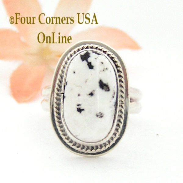 Four Corners USA Online - Size 7 3/4 White Buffalo Turquoise Sterling Ring Navajo Artisan Lester Jackson NAR-1787, $105.00 (http://stores.fourcornersusaonline.com/size-7-3-4-white-buffalo-turquoise-sterling-ring-navajo-artisan-lester-jackson-nar-1787/)