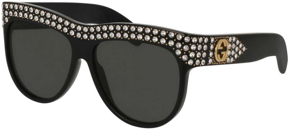bfd3b297353d2 Gucci GG0147S 001 56 Shiny Black Crystal Grey Round Oval – Sunglass Oasis  Online