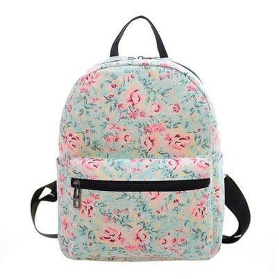 e7f36b7108 2016 Fashion Mini Backpack For Women Ladies Clock Flower Floral Canvas  School Bag Student Backpack Hot Mochila Escolar