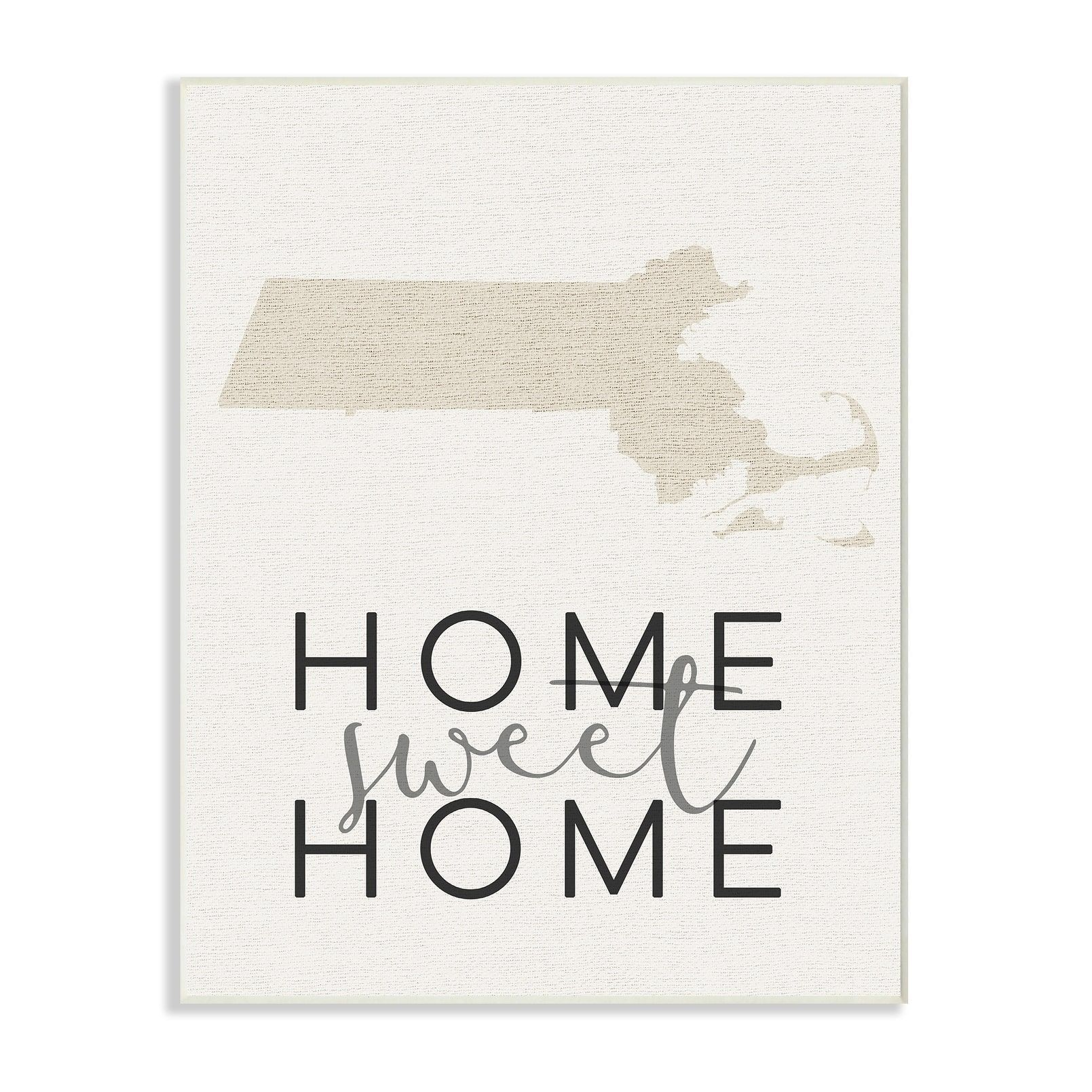 Stupell home sweet home massachusetts typography wall plaque art