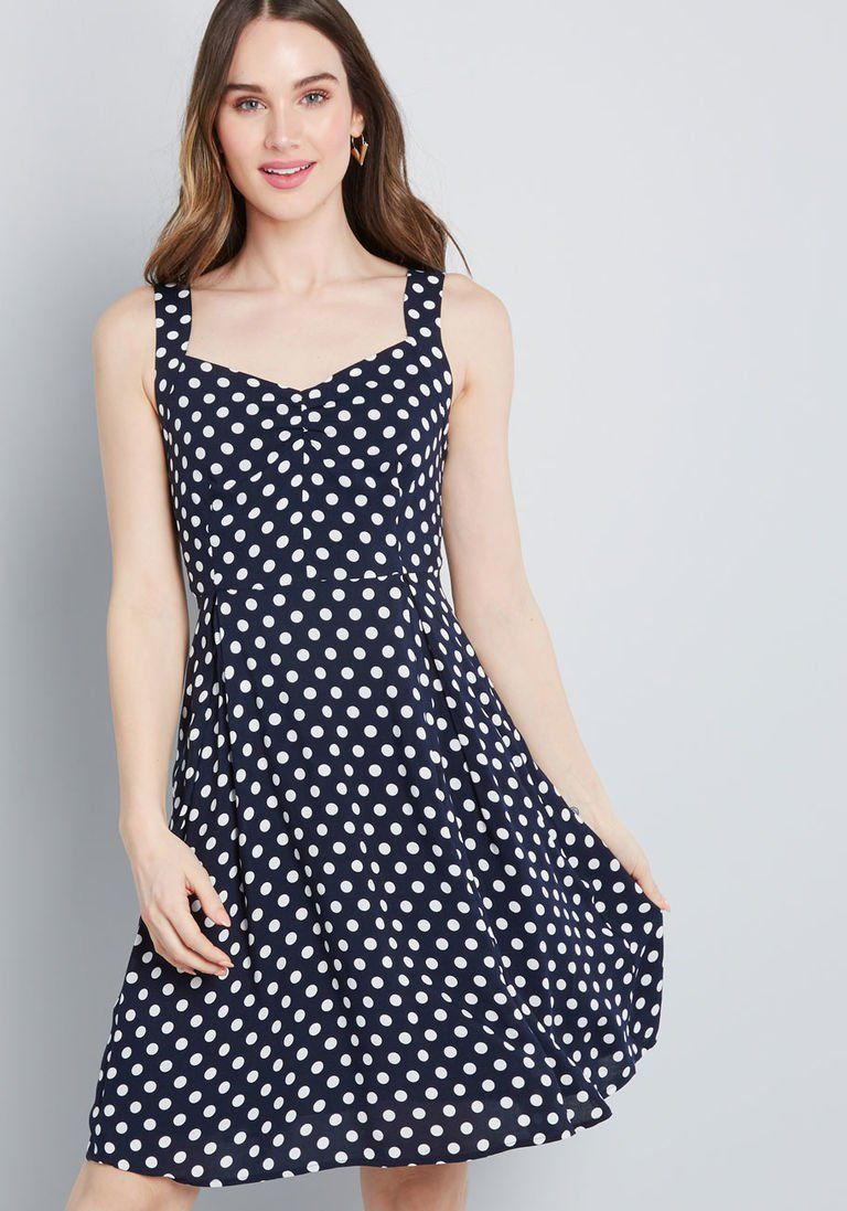 b7e3bbcb6b1a Retro Glow Pinup A-Line Dress in Dotted Navy in 2X - Spaghetti Knee Length  by ModCloth
