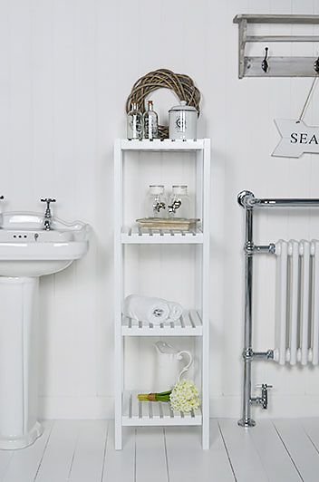 Brighton White Bathroom Shelf Unit With 4 Shelves