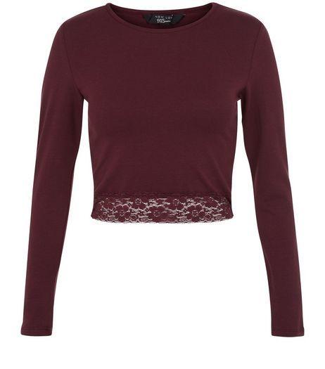 Teens Burgundy Lace Hem Top | New Look