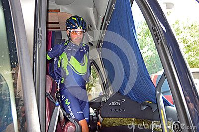 A team rider just before the Alicante stage of the Vuelta a la Comunidad Valenciana cycle race.