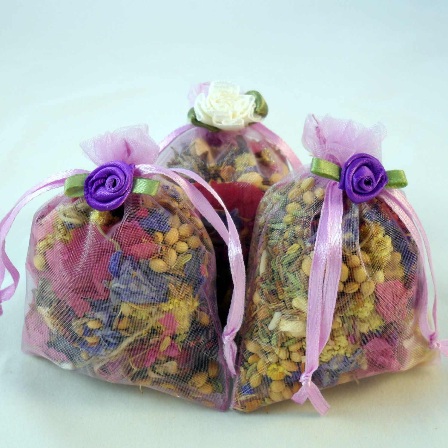 lovely lilac purple herb and dried flower potpourri sachets