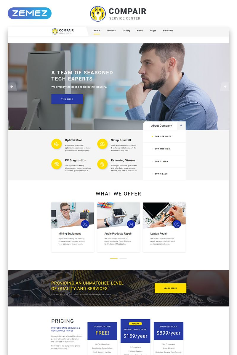 Compair Computer Service Multipage Html5 Website Template Service Computer Compair Website Website Template Html Website Templates Computer Service
