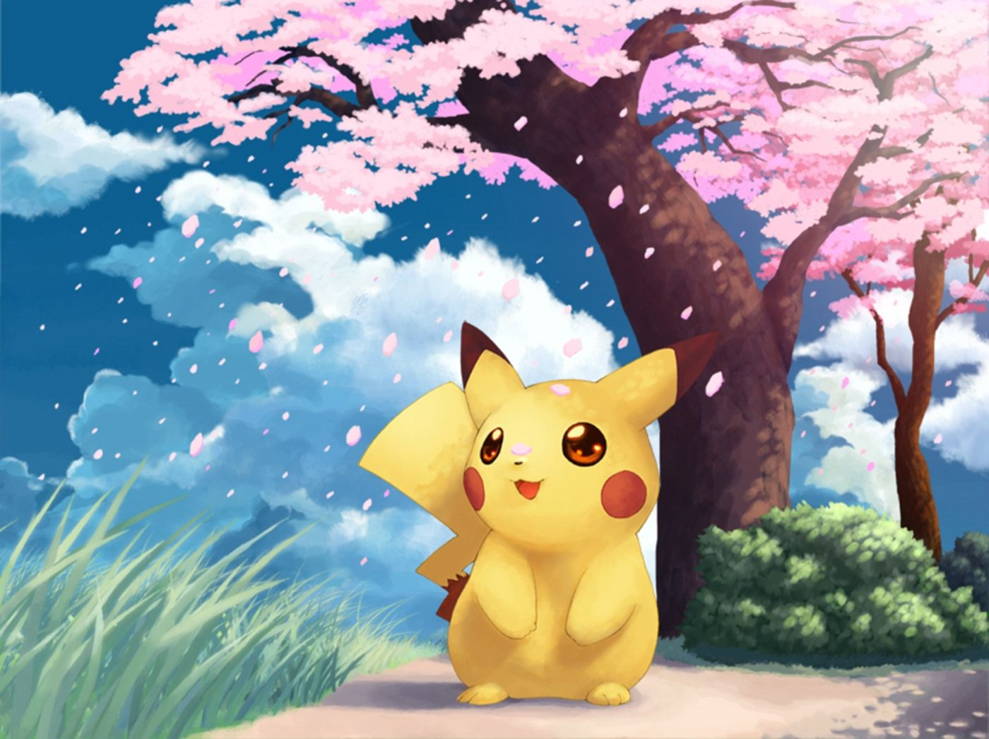 Pikachu under the cherry blossom | Nails | Pinterest