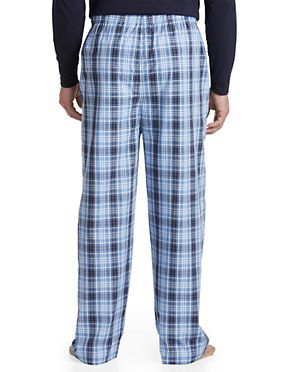 Harbor Bay by DXL Big and Tall Plaid Lounge Pants Blue