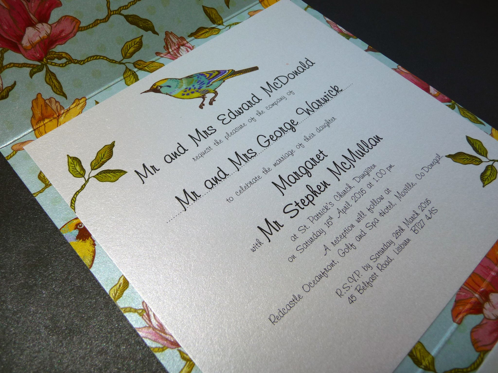 Stunning Vintage Bird styled wedding invitation - pocketfold design ...