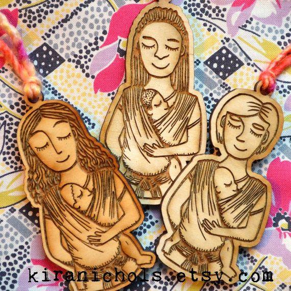 Babywearing Woven Wrap Wooden Ornament Three Styles by kiranichols